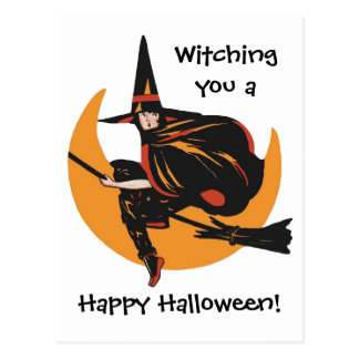 Witching You a Vintage Happy Halloween Card