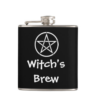 Witch's Brew Wiccan Pagan Pentacle Hip Flask