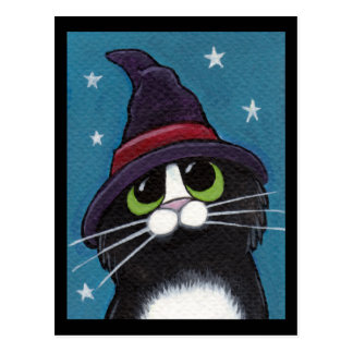 Witch's Familiar Quirky Halloween Cat Illustration Postcard