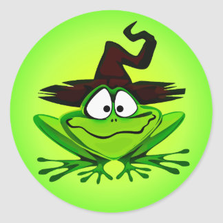 Witchy Frog Green Round Sticker
