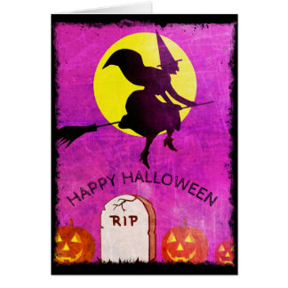 Witchy Full Moon Happy Halloween Card