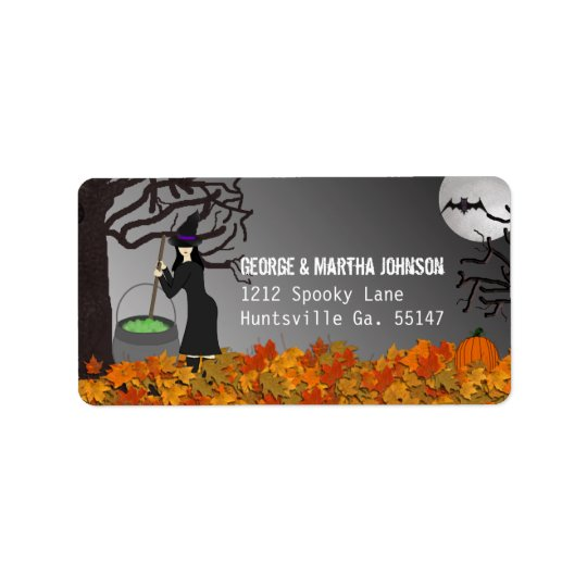 Witchy Night Halloween Address Stickers