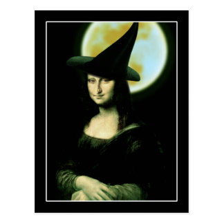 Witchy Woman Mona Lisa Halloween Postcard