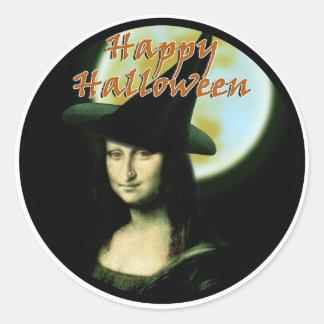Witchy Woman Mona Lisa Halloween Round Sticker