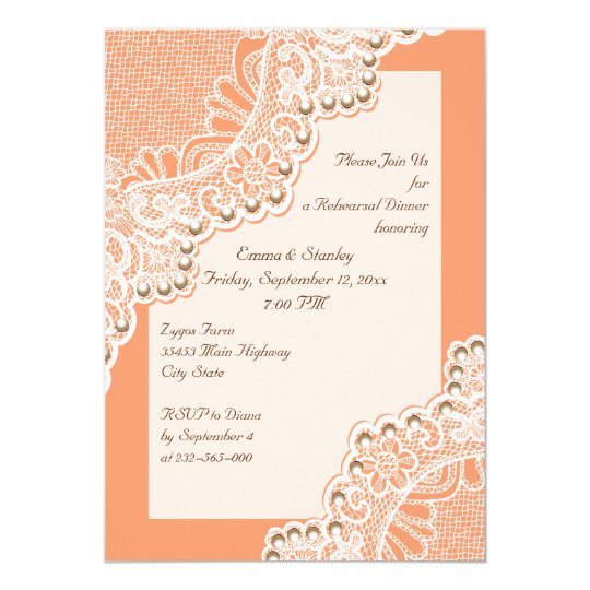 Wite lace & pearls wedding coral rehearsal dinner card