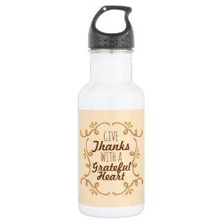 With A Grateful Heart Thanksgiving   Water Bottle