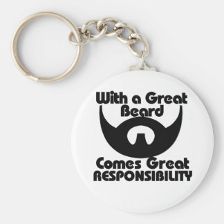 With a great beard comes great resposibility basic round button keychain
