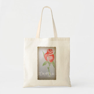 With All My Love watercolor Rose Tote Bag