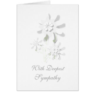 """""""With Deepest Sympathy"""" Floral Greetings Card"""