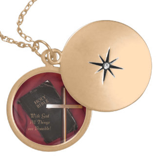 With God All Things are Possible - Gold Locket
