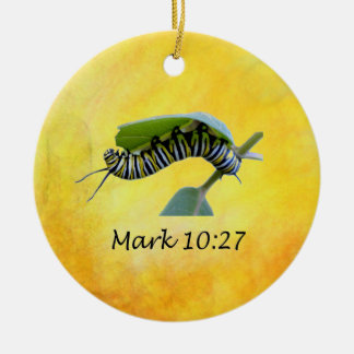 With God All Things Are Possible Monarch Butterfly Ceramic Ornament