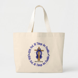 WITH GOD CROSS Colon Cancer T-Shirts & Gifts Large Tote Bag