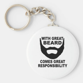 With Great Beard Comes Great Responsibility Basic Round Button Keychain
