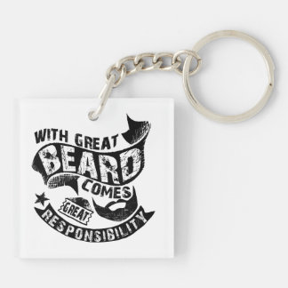With Great Beard Comes Great Responsibility Double-Sided Square Acrylic Keychain