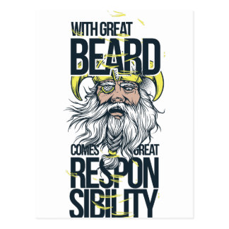 with great beard comes great responsibility postcard