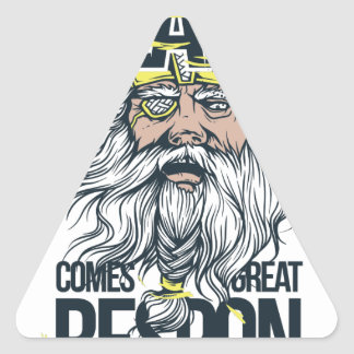 with great beard comes great responsibility triangle sticker