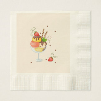 with hoists cream strawberry paper napkin