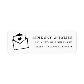 With Love | Black and White Return Address Return Address Label