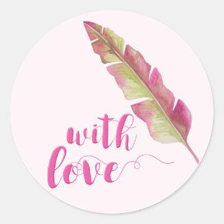 With Love | Bohemian Feather Round Wedding Sticker
