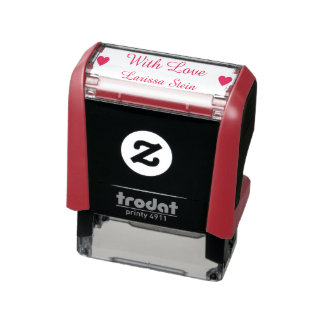 with love (custom text) + name, cute self-inking stamp