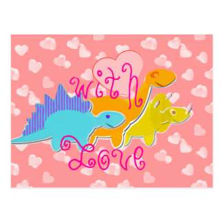 With Love Cute Dinosaurs Postcard