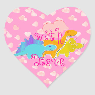 With Love Dinosaurs Hearts Pattern Heart Sticker