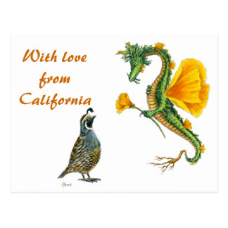 With  love from California - postcard