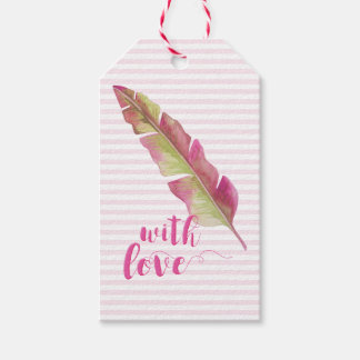 with Love | Pink and Green Boho Feather Gift tags