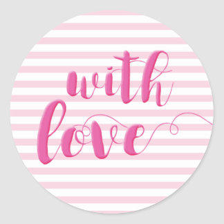With Love, Script Typography Pink Striped Sticker