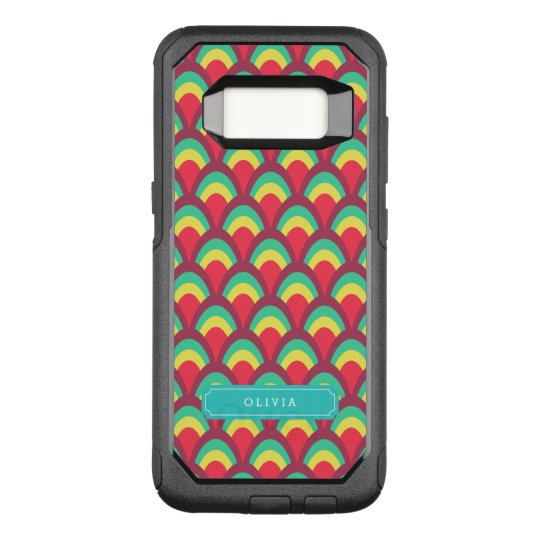 with Name Colourful Geometric Pattern OtterBox Commuter Samsung Galaxy S8 Case