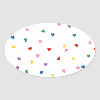 with small hearts oval sticker