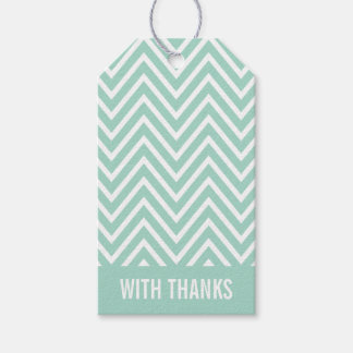 WITH THANKS TAG modern chevron simple cool mint Pack Of Gift Tags
