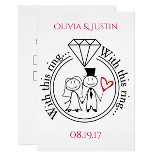 With This Ring Casual Stick Figure Couple RSVP Card