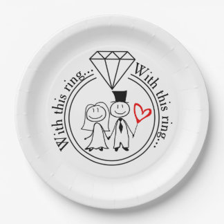 With This Ring Casual Stick Figure Couple Wedding 9 Inch Paper Plate