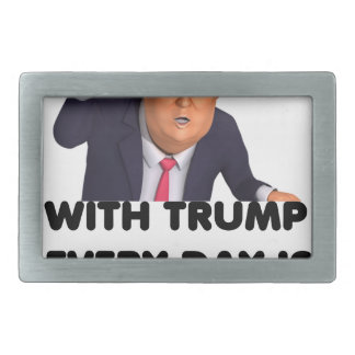 with trump every day  white belt buckle