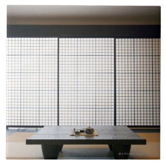 with wooden table and modern style tatami : tile