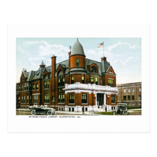 Withers Public Library, Bloomington, Illinois Postcard