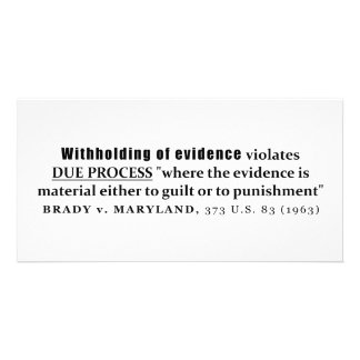Withholding of Evidence Brady v Maryland Case law Photo Card