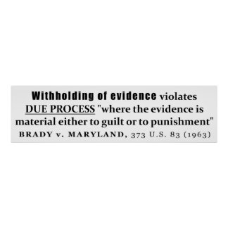 Withholding of Evidence Brady v Maryland Case law Poster