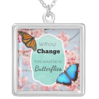 Without Change No Butterflies Cherry Blossoms Silver Plated Necklace