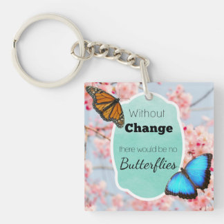Without Change No Butterflies Quote Pink & Aqua Keychain