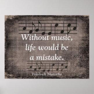 Without Music - Friedrich Nietzsche quote - Print