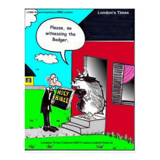 Witness The Badger Funny Mugs Cards Tees & Gifts Postcard
