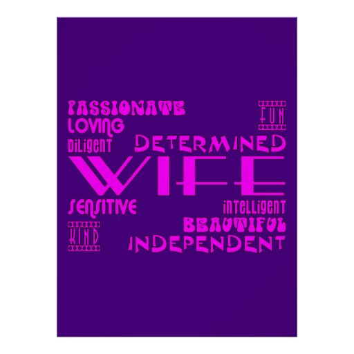 Wives Wedding Anniversary Birthday Party Qualities Print