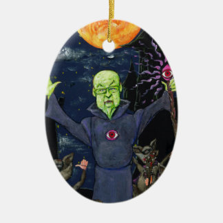 Wizard and Evil Raccoons Ceramic Ornament