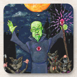Wizard and Evil Raccoons Coaster