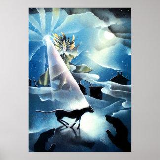 wizard, black cat, guiding light, inspirational poster
