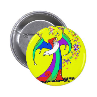 Wizard casting colorful spells with magic wand 2 inch round button