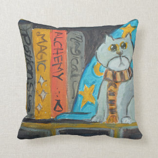 Wizard Folk Art Cat Painting Throw Pillow
