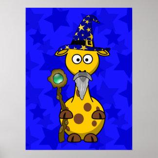 Wizard Giraffe Cute Cartoon Posters
